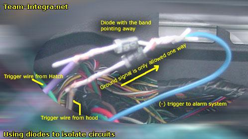 alarm wireing team integra forums team integra each wire to keep them from seeing each other and tie this into the alarm s instant trigger wire blue on your clifford
