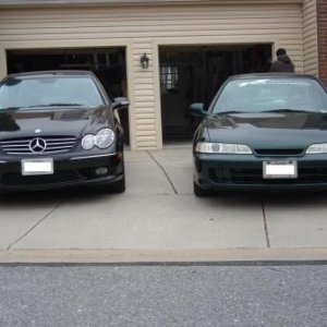2004 Mercedes-Benz CLK500 and 1999 Acura Integra GS